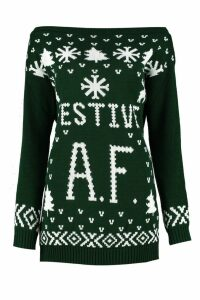 Womens Festive A.F Christmas Jumper - green - S/M, Green