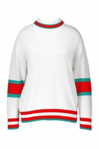 Womens Plus Roll Neck Stripe Detail Jumper - white - 16, White