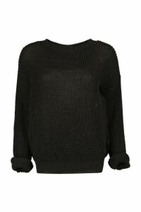 Womens Petite Oversized Jumper - black - 14, Black