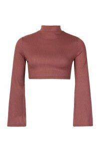 Womens Petite Jumbo Rib Flare Split Sleeve Crop Top - brown - 14, Brown