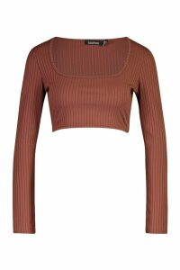 Womens Petite Square Neck Jumbo Rib Crop Top - brown - 14, Brown