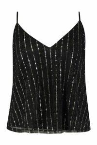 Womens Plus Sequin Stripe Cami - black - 20, Black