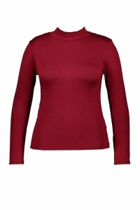 Womens Plus Jersey Roll Neck Long Sleeve Top - red - 20, Red