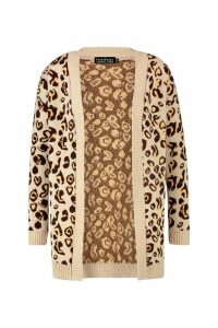 Womens Plus Leopard Knitted Oversized Cardigan - beige - 16-18, Beige