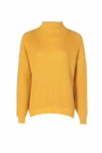 Womens Fisherman Roll Neck Jumper - yellow - S/M, Yellow