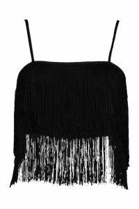 Womens Tassel Bralet - black - 10, Black