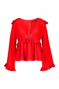 Womens Plus Frill Detail Blouse - red - 24, Red
