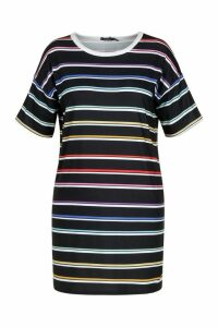 Womens Plus Striped T-Shirt Dress - black - 18, Black