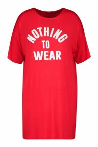 Womens Plus Nothing To Wear T Shirt Dress - red - 24, Red