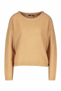 Womens Tall Boxy Scoop Neck Jumper - Beige - Xs, Beige