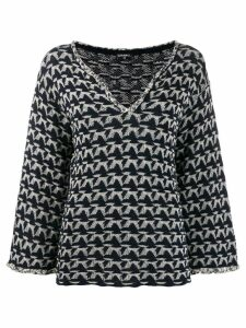 Chanel Pre-Owned patterned V-neck sweater - Blue