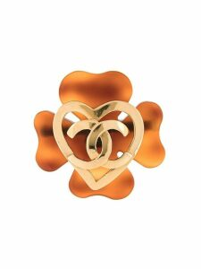 Chanel Pre-Owned 1995 CC clover brooch - Brown