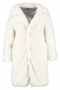 Womens Plus Long Sleeve Faux Fur Coat - white - 18, White