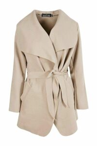 Womens Waterfall Coat - beige - One Size, Beige