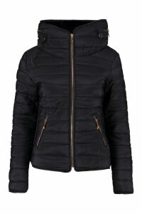 Womens Quilted Jacket - black - M, Black