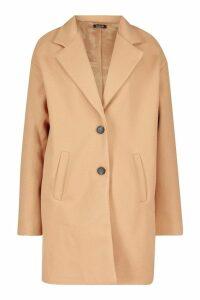 Womens Tall Boxy Oversized Wool Look Coat - beige - 16, Beige