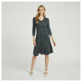 Floating Petals Pleated Fit and Flare Dress