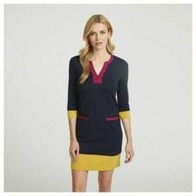 Navy Colour Block Shift Dress