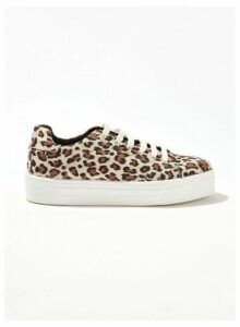 Womens Tess Multi Colour Leopard Print Flatform Trainers, MULTI