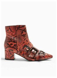 Womens Bowy Red Multi Buckle Snake Print Boots, RED