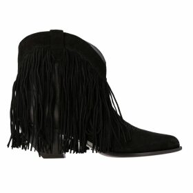 Golden Goose Flat Booties Golden Goose Texan Ankle Boot In Leather And Suede With Fringes
