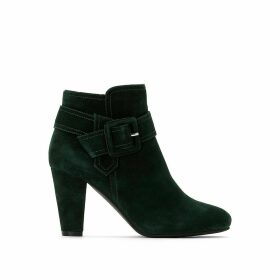 Suede High-Heeled Ankle Boots with Buckle Trim