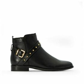 Studded Leather Ankle Boots with Strap Detail