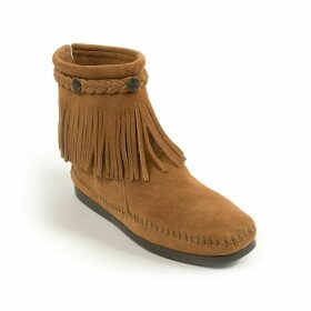 Suede Fringed Ankle Boots with Ankle Plait