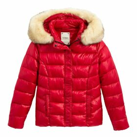 Short Hooded Jacket with Fur Collar