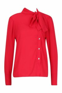 Womens Woven Tie Neck Button Detail Blouse - red - 8, Red