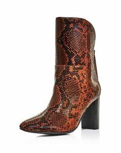 Charles David Women's Billard Snake-Print Block Heel Boots