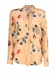 RED Valentino Flowers Lavalier Top Long Sleeves Round Neck