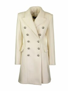 Balmain Long Double Breasted White Wool Coat With Buttons