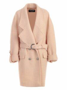 Balmain Coat Double Breasted W/belt