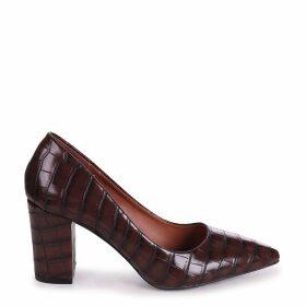 BAMBA - Brown Croc Nappa Block Heel Court Shoe
