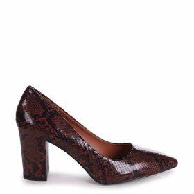 BAMBA - Brown Snake Nappa Block Heel Court Shoe