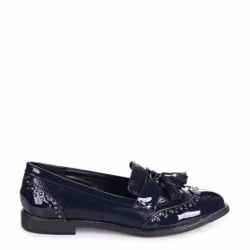 JOANIE - Navy Patent & Lizard Slip On Loafer With Tassel and Studded Detail
