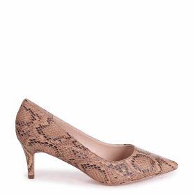LUCINDA - Beige Snake Classic Court Shoe With Low Heel