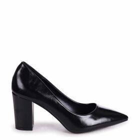 BAMBA - Black Shiny Nappa Block Heel Court Shoe