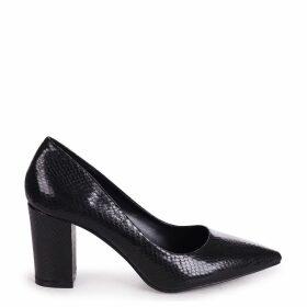 BAMBA - Black Snake Suede Block Heel Court Shoe