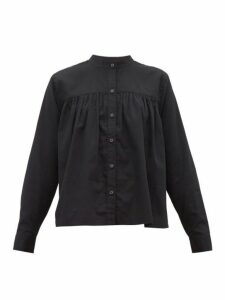 Mara Hoffman - Sybil Collarless Pleated Cotton Blouse - Womens - Black