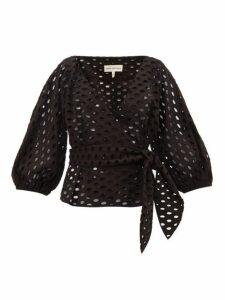 Mara Hoffman - Libby Broderie-anglaise Cotton Wrap Top - Womens - Black