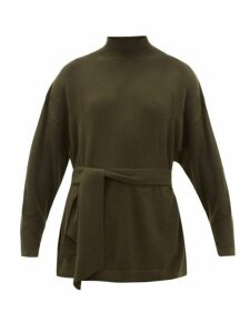 Zimmermann - Espionage Belted Wool-blend Sweater - Womens - Dark Green