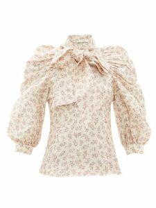 Zimmermann - Sabotage Floral Print Silk Blouse - Womens - Cream Print