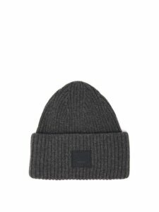 Acne Studios - Pansy Ribbed Knit Wool Beanie Hat - Womens - Grey