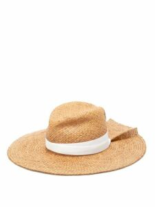 Lola Hats - First Aid Back-pleat Raffia Hat - Womens - Brown