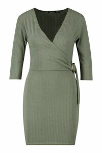 Womens Petite Ribbed Buckle Dress - green - 4, Green