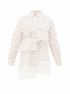 4 Moncler Simone Rocha - Floral Print Lace Trimmed Cotton Blouse - Womens - Red White