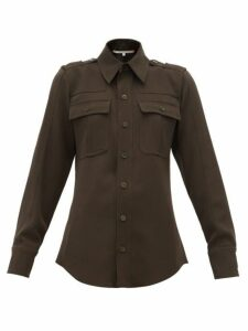 Stella Mccartney - Wool-twill Military Shirt - Womens - Dark Green