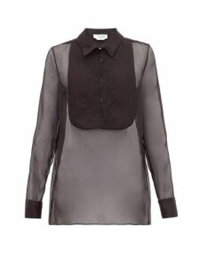 Gabriela Hearst - Oriana Embroidered-bib Organza Shirt - Womens - Black